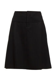 Skirt, a-shape, knee length, raw cu - black
