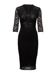 DRESS FLORAL LACE - JET BLACK