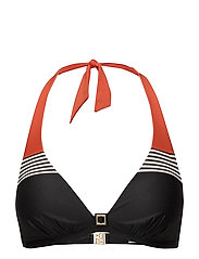 GRACE bikini triangle bra - PILI ORANGE/BLACK