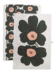 UNIKKO TEA TOWEL 2PCS - WHITE, DARK GREEN, PEACH