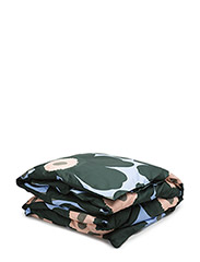 UNIKKO DUVET COVER - LIGHT BLUE, DARK GREEN, PEACH