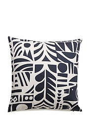 YÖN VARJO CUSHION COVER - WHITE, DARK BLUE