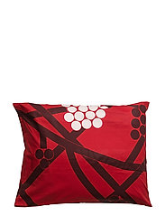 HORTENSIE PILLOWCASE - RED, PLUM, WHITE