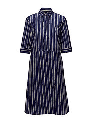 MAILO Dress - DARK BLUE, OFF-WHITE