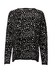 ARNEVI VATANUOTTA Knitted pullover - BLACK, OFF WHITE