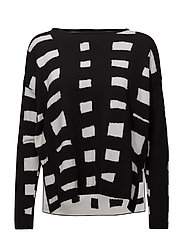 ARNEVI HARSO Knitted pullover - BLACK, OFF WHITE