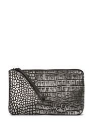 Esther Clutch, Metallic Croco - Silver