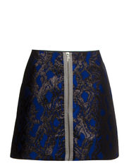 WOVEN WOODGRAIN ZIP SKIRT - NAVY
