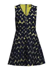 WOVEN SHEER DRESS - NAVY/YELLOW