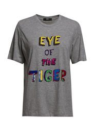 KNITTED EYE TEE - GREY MARL