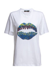 KNITTED SMACKER LIP TEE - WHITE