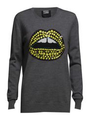 KNITTED LIP JUMPER - MED.GREY