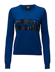 KNITTED BUSINESS MONKEY JUMPER - CONGO BLUE