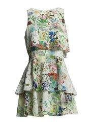FLORAL PATCHWORK SILK FRILL DRESS - FLORAL