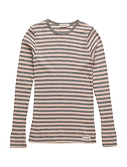 PLAIN TEE LS - ROSE/GREY MELANGE