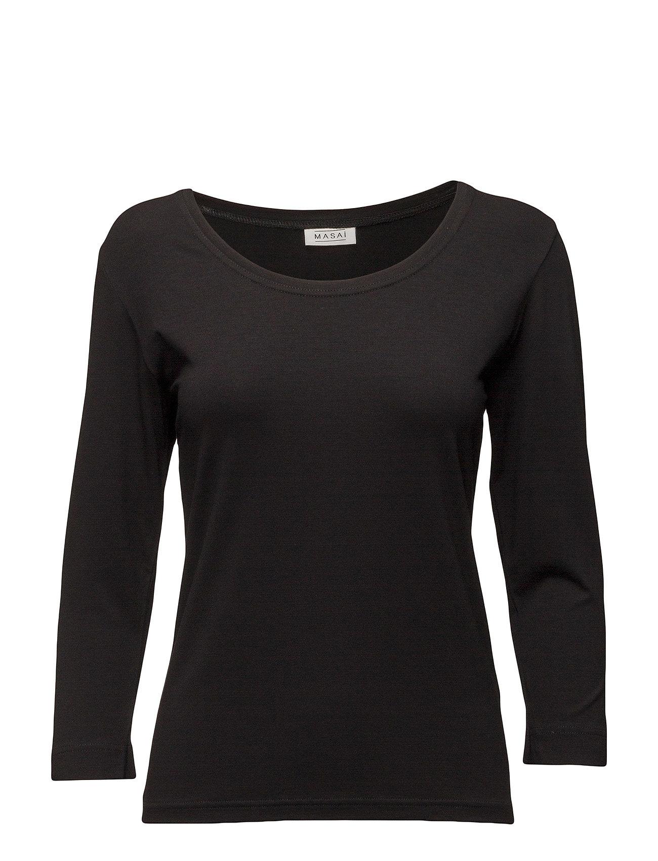 Cream Top Fitted 3/4 Slv Basic Masai T-shirts & toppe til Kvinder i Sort