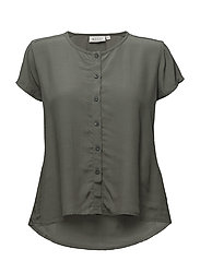 Inus blouse fitted wing slv - RESEDAGREEN