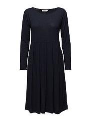 Noela dress fitted long slv - NAVY