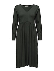 Nelle dress fitted long slv - EMERALD ORG