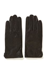Suede glove w grid print - Blacks