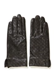 Leather glove w star burnout - Blacks