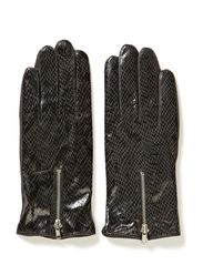 Leather glove w reptile print - Greys