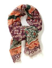 Modern design scarf with emb. - Greens