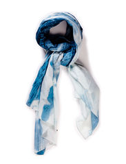 Stretch knot scarf - Blue / white