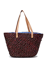 Straw bag w.flower lining - Blue