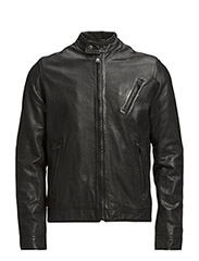 LEATHER BLOUSON - Black
