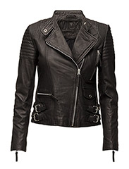 City biker leather jacket - BLACK