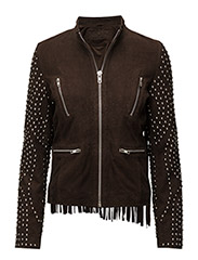 Sophie Rivet Suede Jacket - DARK BROWN