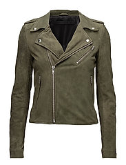 Bubble biker suede jacket - ARMY GREEN