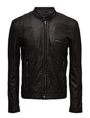 Karl leather jacket (black) - BLACK