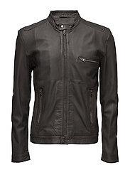 Karl leather jacket (black) - DARK GREY