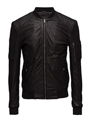 Combi leather jacket (black) - BLACK