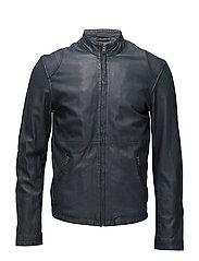 Pede leather jacket (black) - NAVY