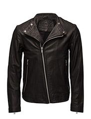 Henrik leather jacket (black) - BLACK