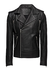 Texas cow leather jacket (black) - BLACK