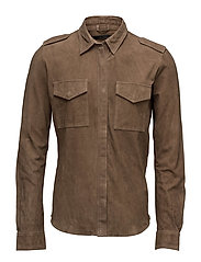 Army goat suede shirt - DIRTY BROWN
