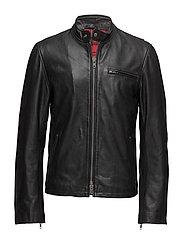 Bsa cow leather jacket - BLACK