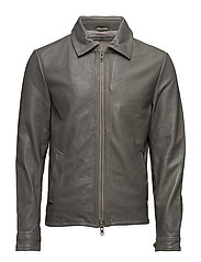 Tom cow leather jacket - GREY