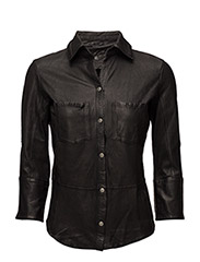 Kirsty Leather Shirt - black