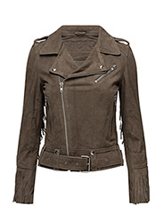 Ingrid Fringe Full Suede Jacket (Grey) - GREY