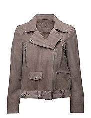 Biker oversize suede jacket (mushroom) - MUSHROOM