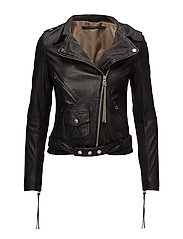 London thin leather jacket - BLACK