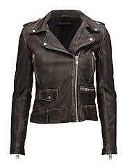 Seattle washed leather jacket - BLACK