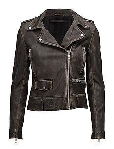 Seattle washed leather jacket - BLACK