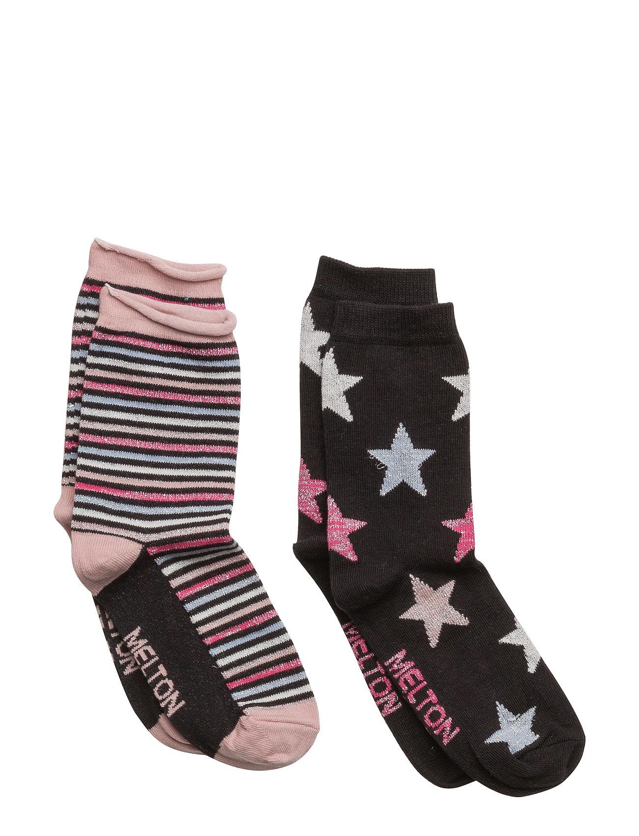 2-Pk Sock - Star/Stripe Lurex Melton Strømper & Strømpebukser til Børn i
