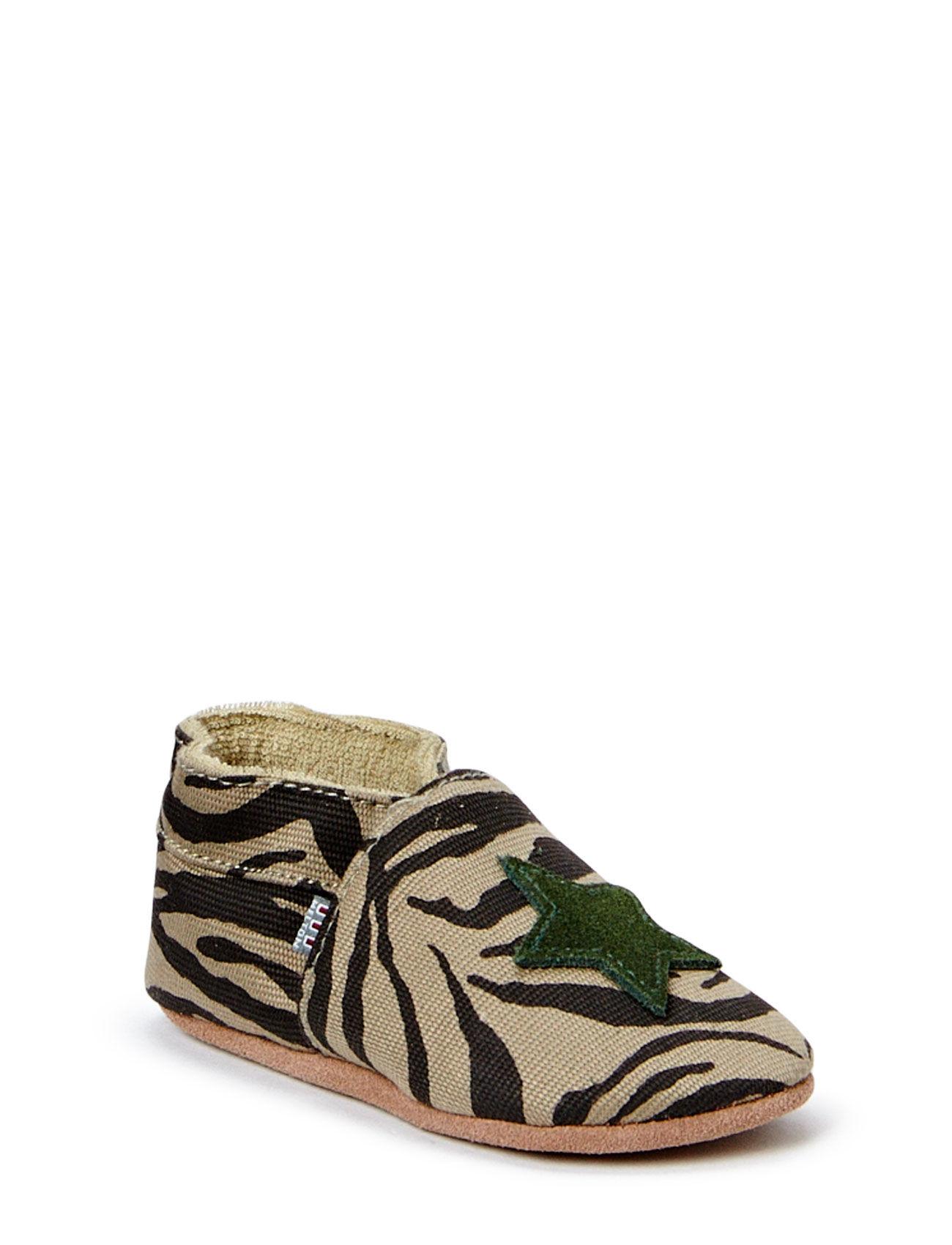Textile Shoe, Zebra Star Melton Hjemmesko til Børn i